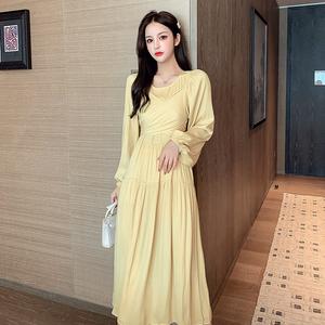 实拍2020秋冬韩国chic圆领交叉系带长裙连衣裙