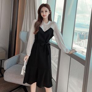实拍现货 9537#雪纺拼接系带假两件连衣裙