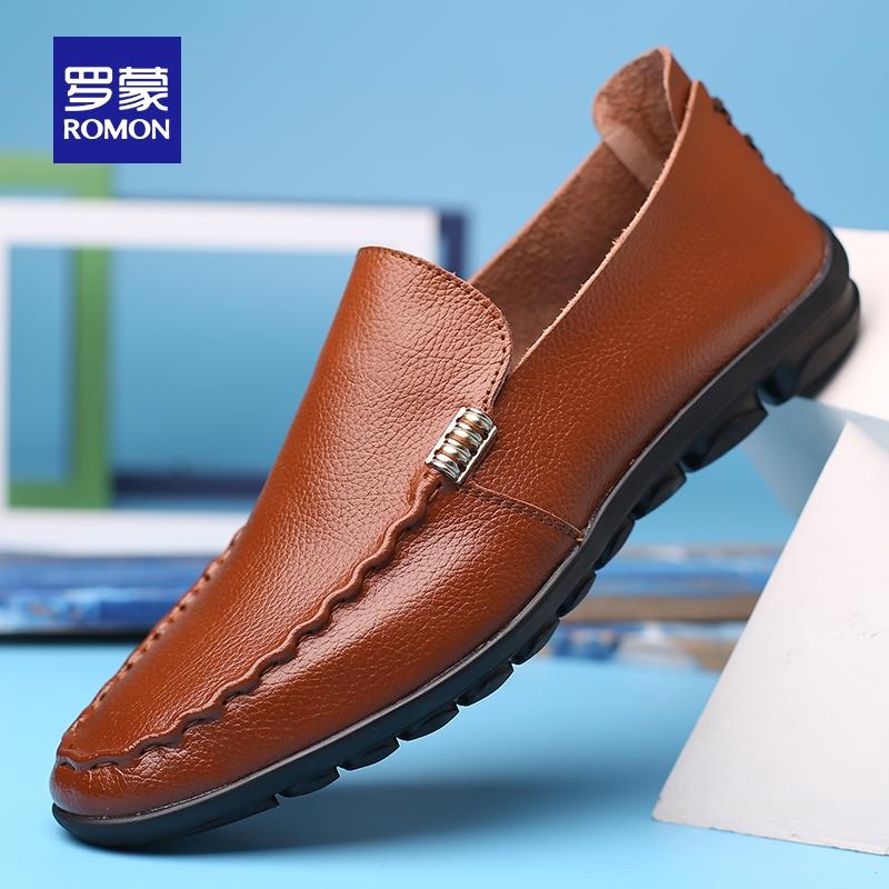 罗蒙 19秋季新款 男式豆豆鞋 休闲皮鞋 天猫优惠券折后¥98包邮(¥178-80)多色可选