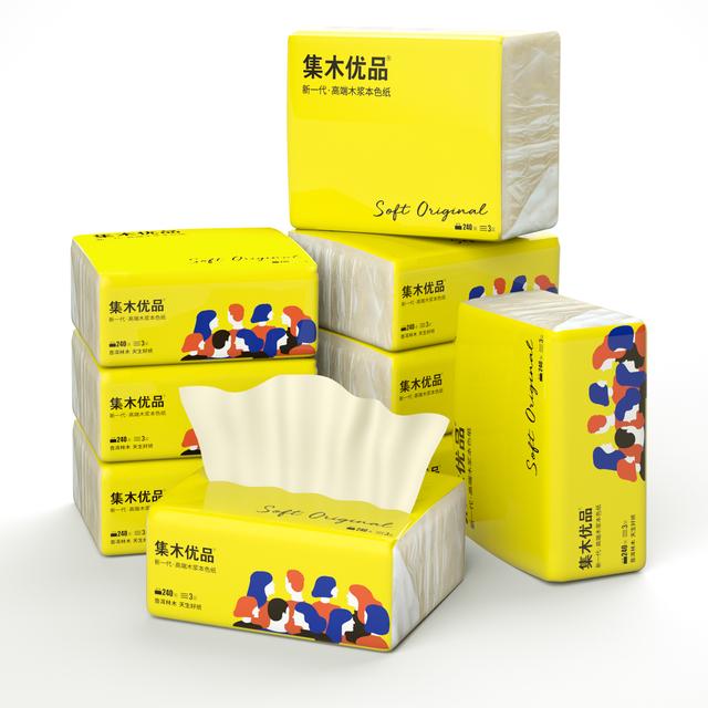 集木优品抽纸24包木浆本色纸家用实惠装母婴专用抽纸巾便携整箱