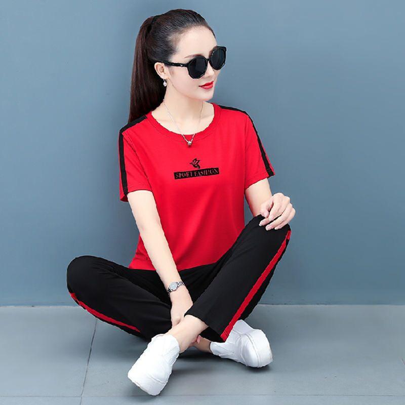 棉质短袖长裤套装女2021年夏季新款时尚休闲大码两件套潮流运动装