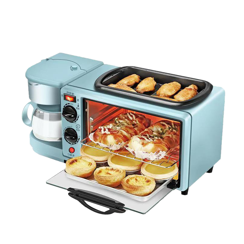 霖叶侬早餐机煎蛋器多士炉电烤箱一体机家用台式小型多功能烘焙箱