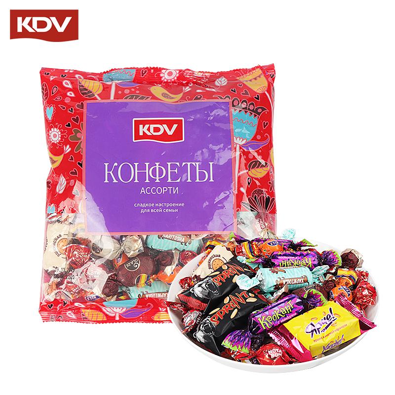 俄罗斯进口KDV混合糖果紫皮糖多口味组合装糖果大礼包500g包邮