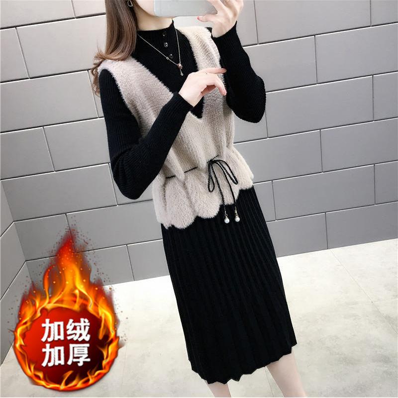 单件\套装长袖连衣裙2020新款秋冬季韩版收腰针织连衣裙女中长款