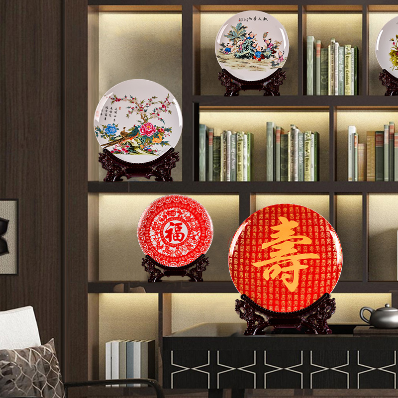 Jingdezhen ceramics red hundred longevity figure sitting room porch decoration plate TV ark, rich ancient frame of new Chinese style furnishing articles