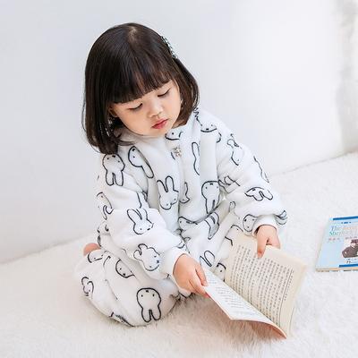 宝宝连体睡衣秋冬季加绒加厚珊瑚绒爬服儿童家居服法兰绒婴儿睡袋