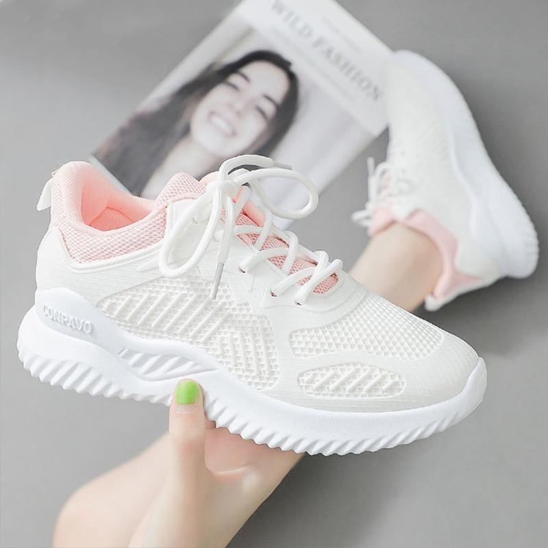 春季新款运动鞋女韩版百搭夏季跑步鞋女轻便飞织网面透气休闲鞋女