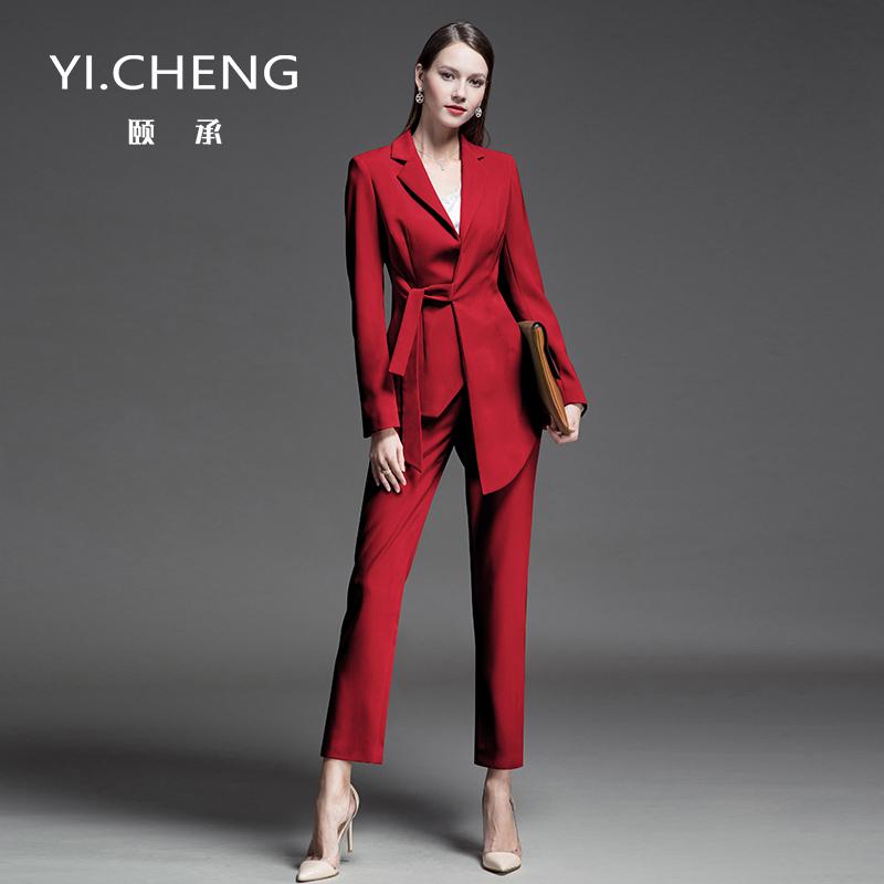 春秋ol职业装通勤套装气质时尚名媛小香风修身红色西装套装女正装