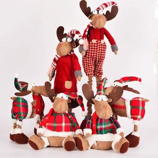 公仔 三室 圣诞节装饰品 呆萌圣诞麋鹿,驯鹿 圣诞玩偶摆件,公仔娃娃
