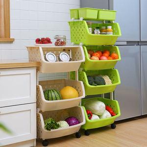 加大带轮厨房置物架落地多层可叠加玩具收纳架菜篮子厨房收纳
