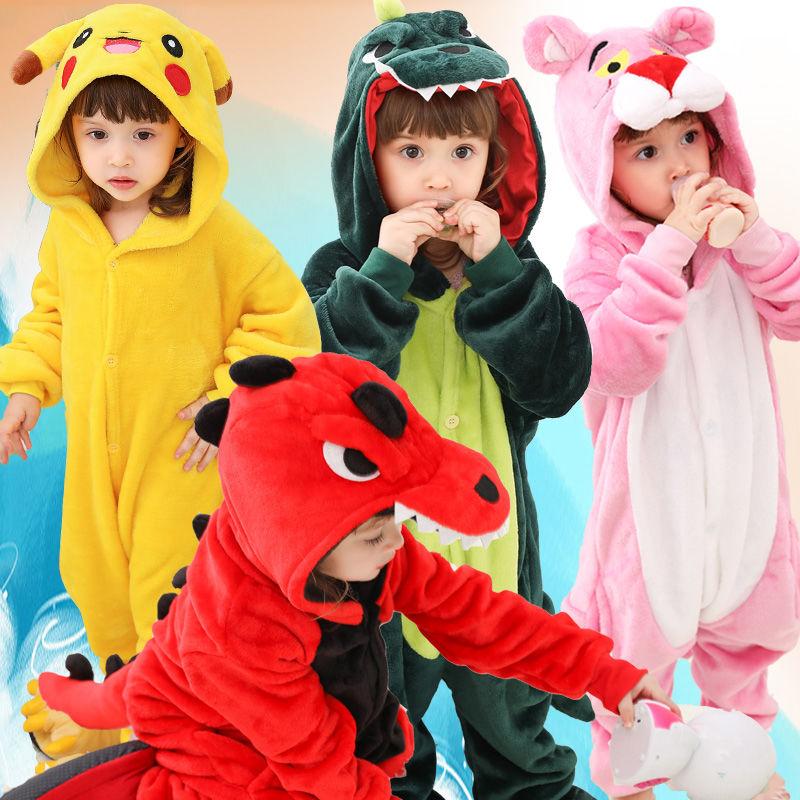 恐龙衣服儿童连体宝宝睡衣秋冬动物款卡通演出服男大童女童法兰绒