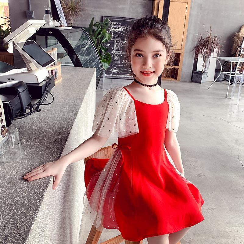 女童连衣裙红色儿童裙2020新款女孩夏装洋气裙子雪纺中大童公主裙