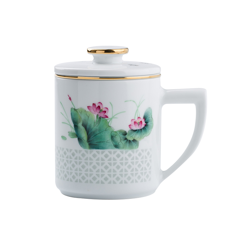 Jingdezhen up the fire which hand - made home office cup with cover and exquisite ceramic tea cups filter mugs