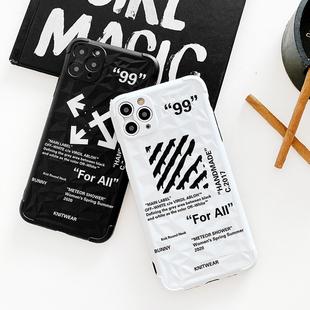 网红潮牌iPhone11promax苹果11手机壳xr情侣8plus/7/xs/X菱格英文
