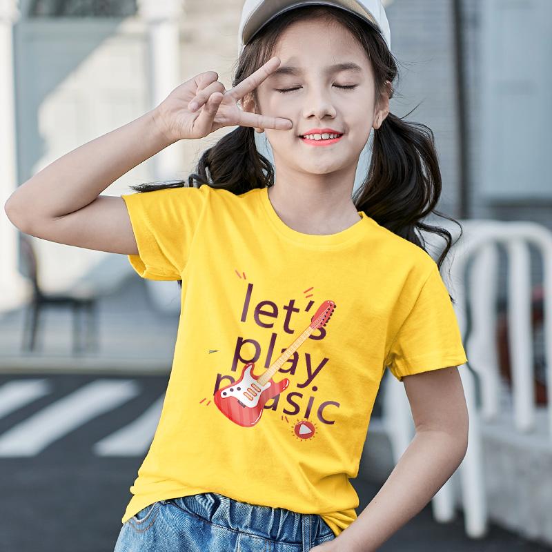 2020年夏季潮牌女童短袖宽松黑色t恤春款韩版中大童新款洋气童装