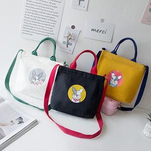原创设计好看的手提袋帆布袋子学生小清新外出时尚便携斜挎购物袋