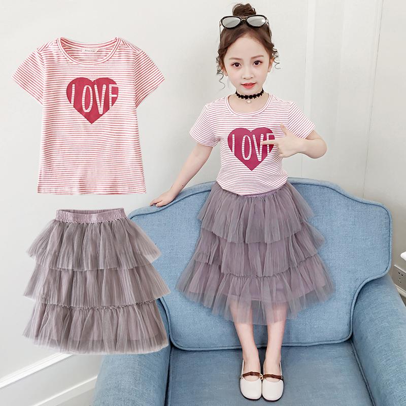 2020夏装新品棉质套装网纱中大童女孩公主裙子韩版百褶裙两件套