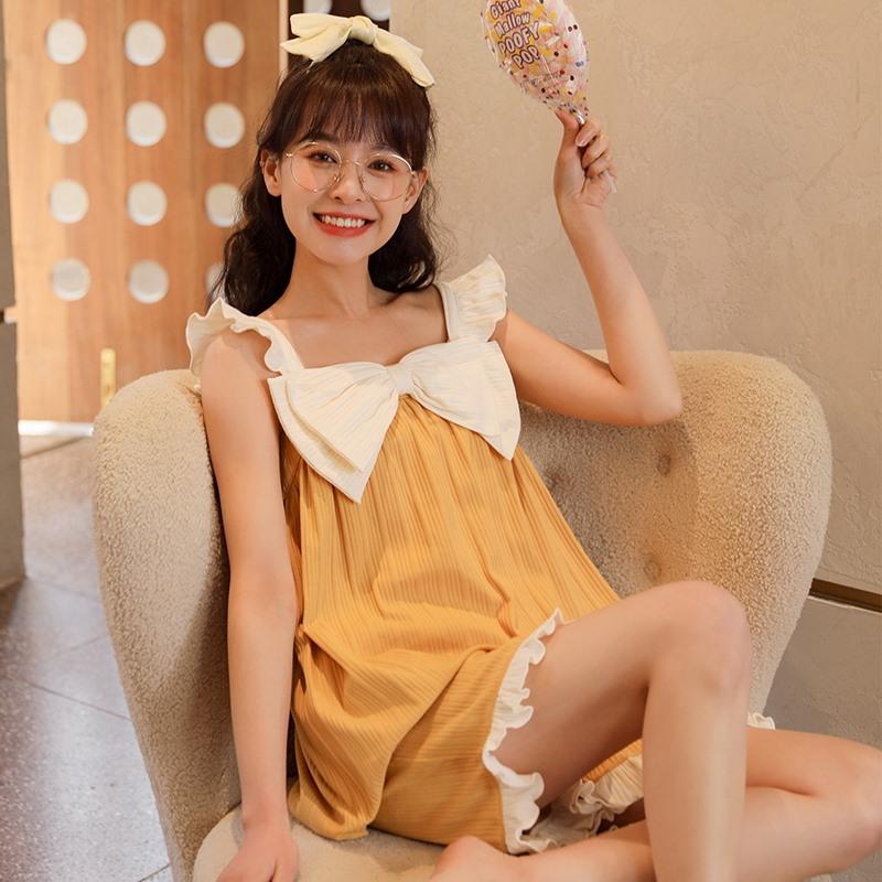 睡衣女夏季纯棉薄款性感吊带短裤两件套装无袖背心春夏甜美家居服
