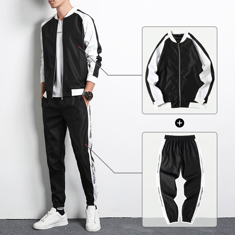 卫衣套装男士春秋冬季运动套装2020新款潮牌休闲装外套男装两件套