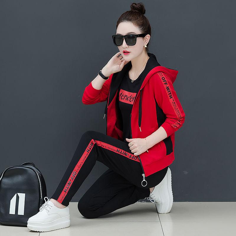 拼腾休闲运动服套装女2020秋季新款宽松韩版时尚长袖卫衣三件套