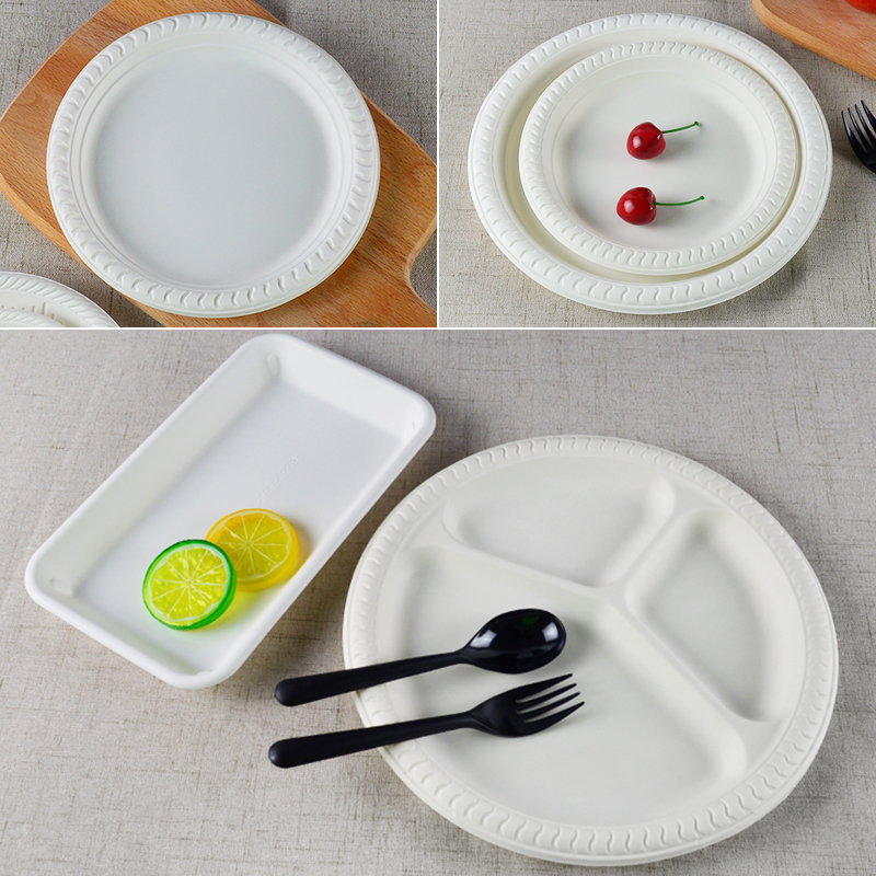 初绿一次性盘子可降解淀粉塑料方盘水果多格圆盘蛋糕甜品小碟烧烤