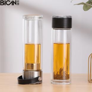双层玻璃杯茶水分离泡茶杯便携家用透明过滤网隔热男高档简约水杯