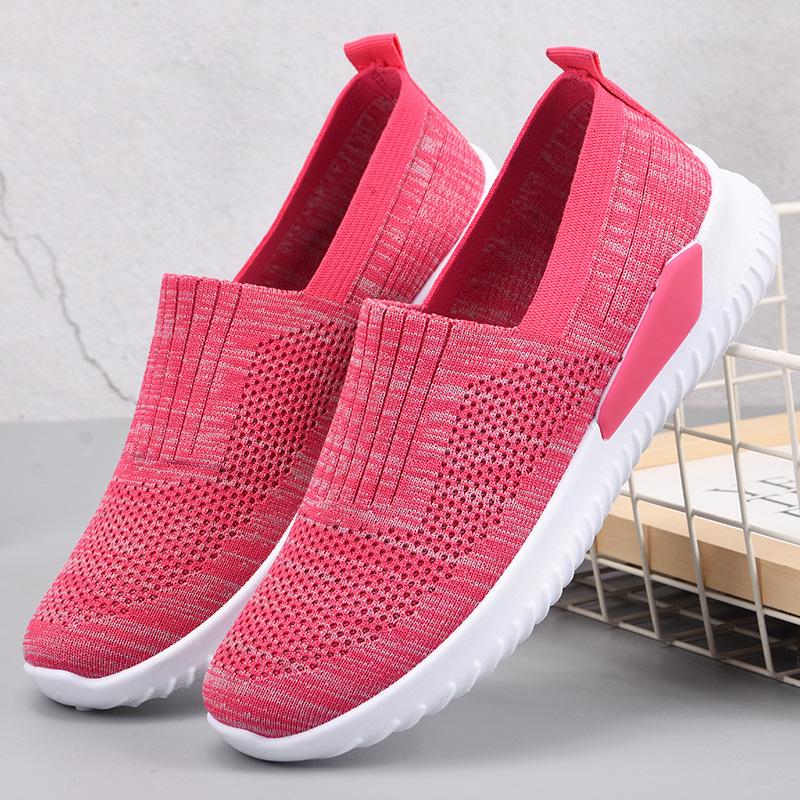 女鞋2021春夏新款休闲飞织透气妈妈鞋中老年轻便网面鞋软底运动鞋