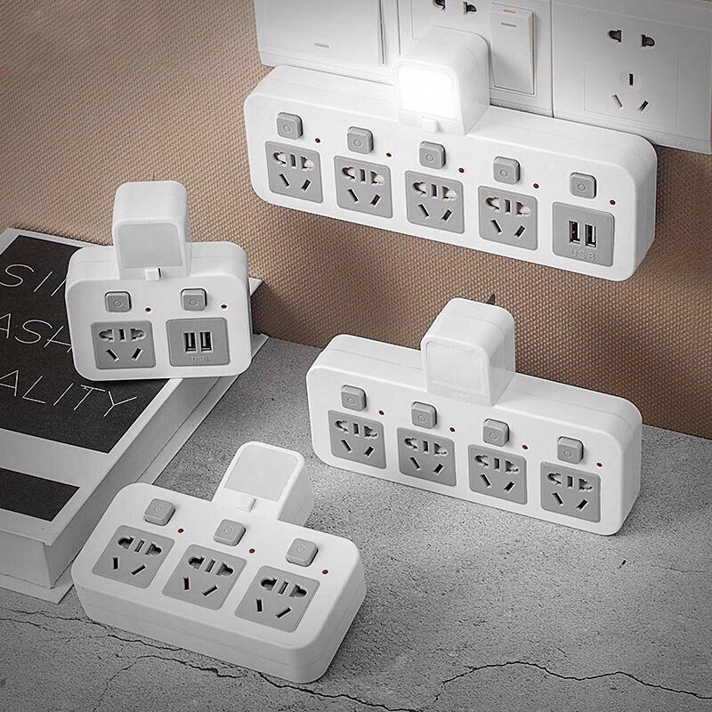 智能无线小夜灯USB插座插排转换器多功能独立开关