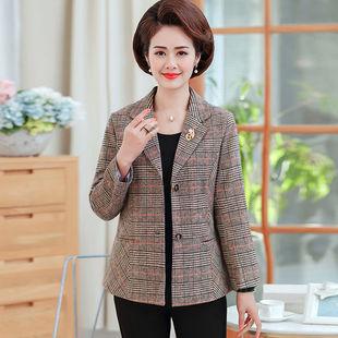 妈妈装春秋外套中老年女装新款小西装中年女修身短款小巧褂子外套