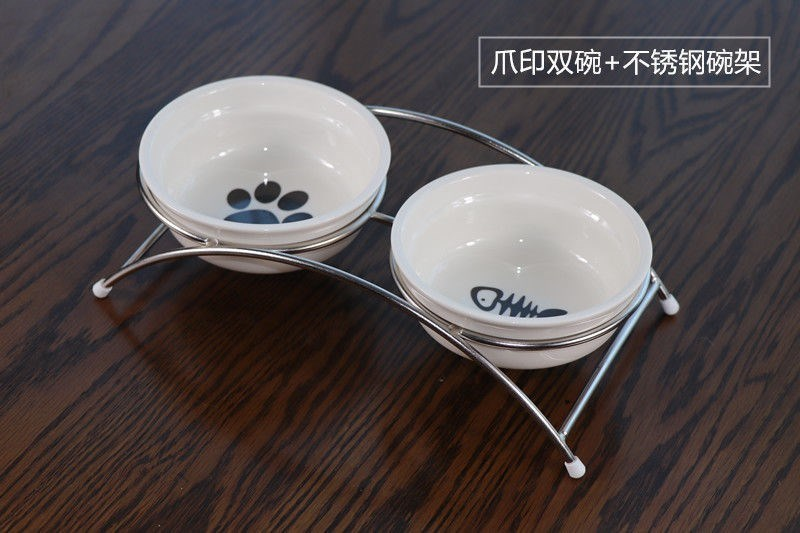 Circular double bowl to ultimately responds water to eat dog and cat cat contracted metal arched steel ceramic bowl bottom fishbone cat paw prints