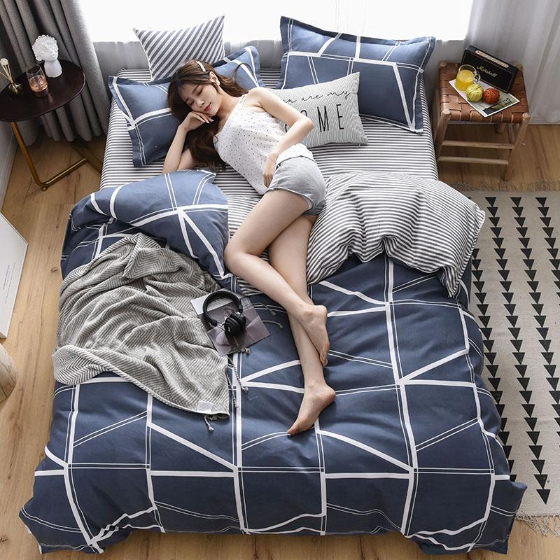 床上四件套床單被套居家用品雙面被子長絨棉簡約被罩套裝