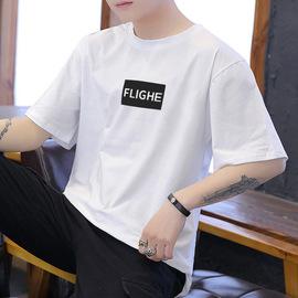 夏季男士纯棉潮流半袖T恤上服宽松白色上衣