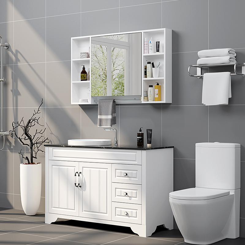 浴室柜组合北欧橡木洗手洗脸盆柜简约现代卫生间实木卫浴柜洗漱台