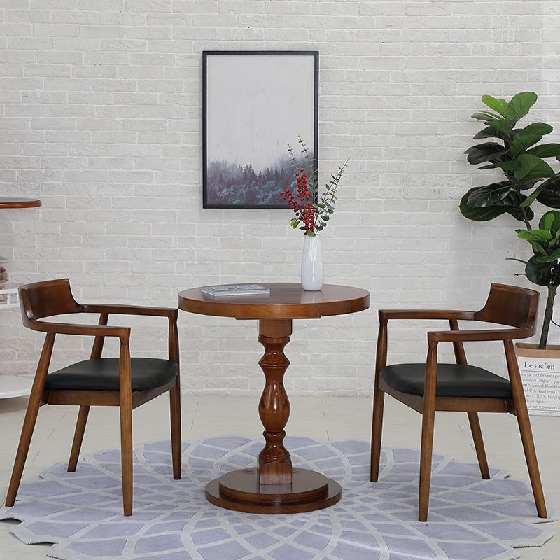 实木小圆桌美式复古家用餐桌酒吧桌餐厅桌椅咖啡桌休闲桌圆形茶几