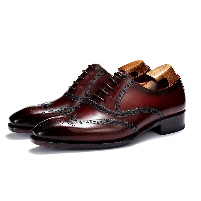英伦雕花皮鞋男固特异手工皮鞋男鞋定制商务正装牛津方头系带婚鞋