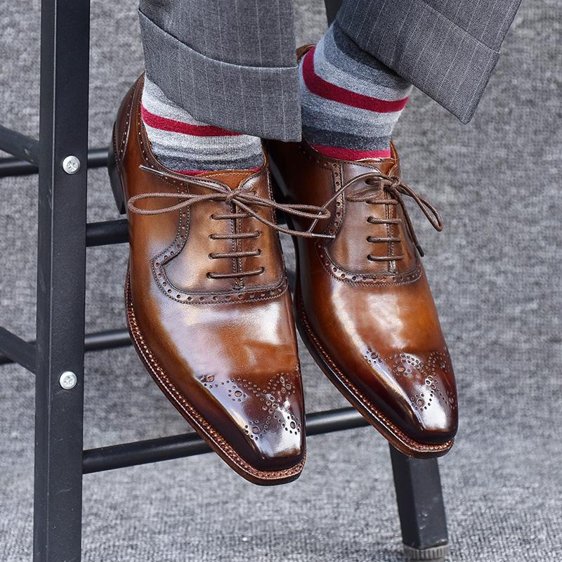 手工皮鞋男真皮定制男鞋固特异商务正装男皮鞋牛津鞋系带方头婚鞋