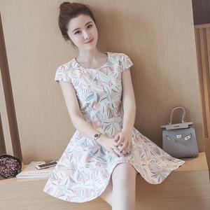 现货实拍1632#夏装女装柠檬清新公主裙学院甜少女短袖棉麻连...