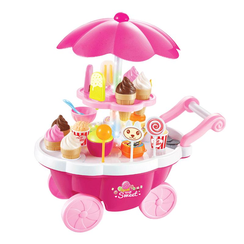 贝恩施儿童玩具女孩过家家音乐灯光手推糖果车冰淇淋玩具厨房套装