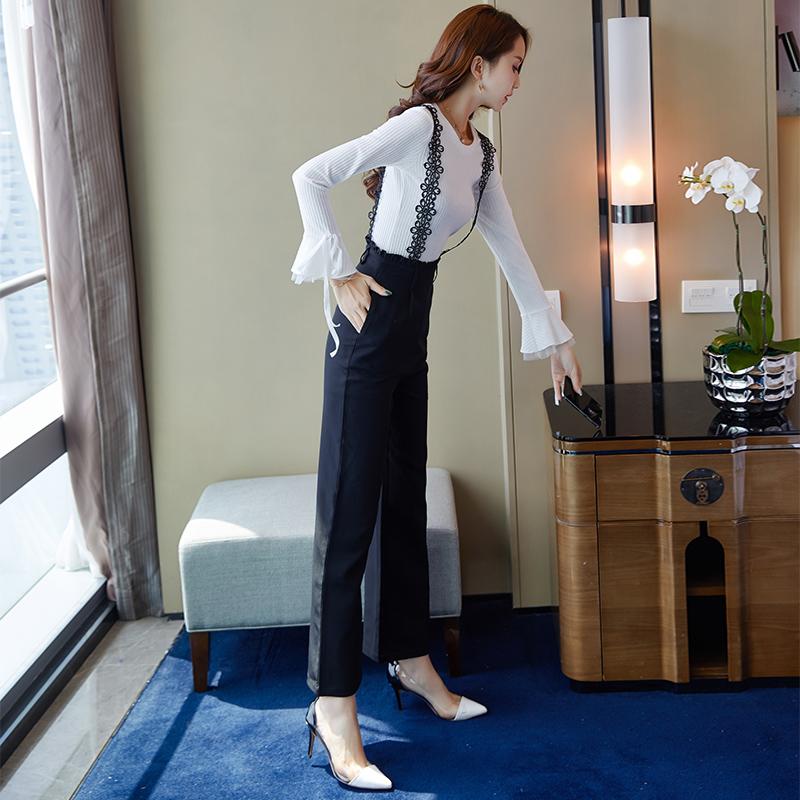 秋季chic港味针织套装秋装女2018新款时尚女神范背带阔腿裤两件套