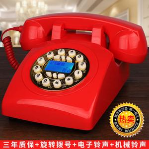 老式按键仿古田园座机古董美式机械铃复古家用办公话机