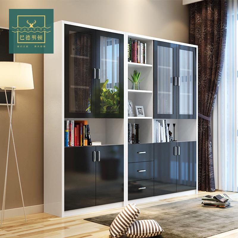 书柜带门创意书柜书架自由组合大书柜简约现代书橱储物柜家具柜