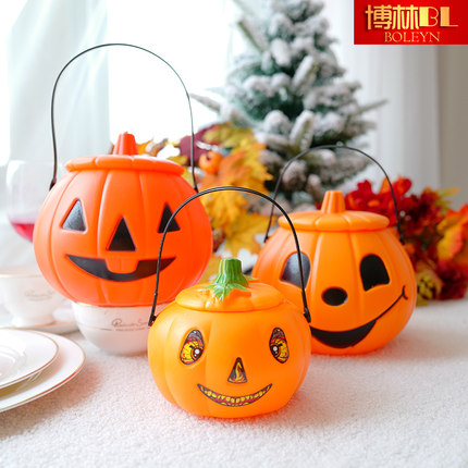 Halloween Decoration pumpkin lamp children's hand with lid candy jar sugar bag glowing pumpkin lantern props