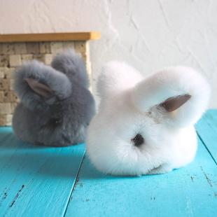玩悦计划超萌趴姿小兔子挂件可爱玉兔公仔毛绒玩具水貂毛兔毛挂饰