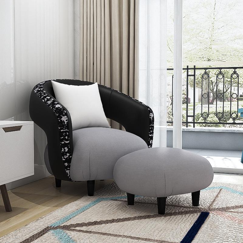 艾依美儿设计个性圆形艺术时尚黑白单人沙发超纤皮革异形懒人沙发