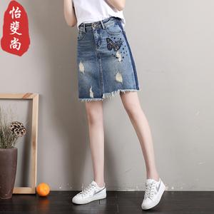 破洞牛仔半身裙女2019新款夏季毛边不规则高腰短裙显瘦包臀a字裙