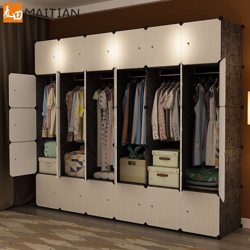 Simple cloth wardrobe storage cabinet sliding door dormitory assembly plastic hanging imitation wood storage simple cloth wardrobe