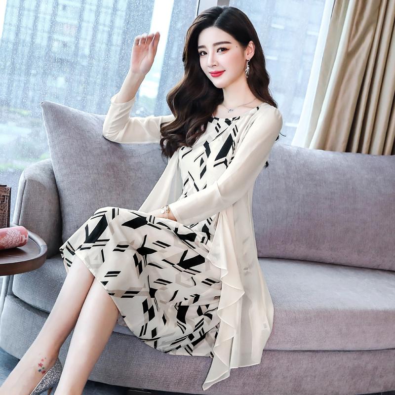 韩黛姿2018夏装新款韩版印花显瘦真丝套装无袖两件套桑蚕丝连衣裙