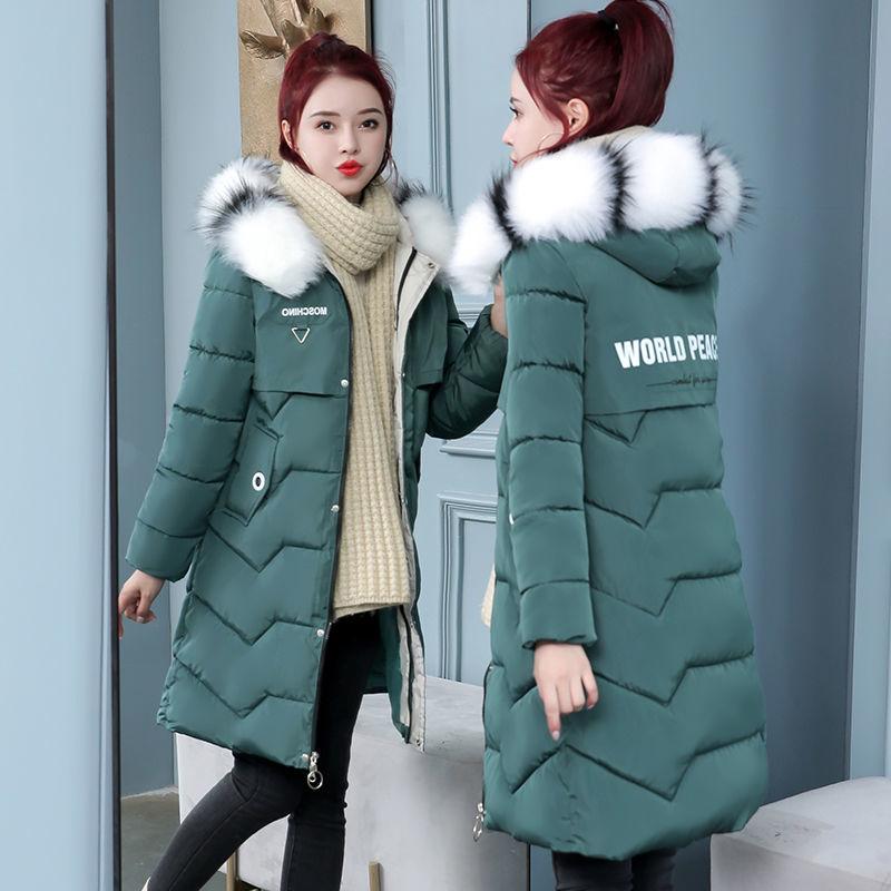 卡都狼正品冬季棉衣韩版中长款加厚棉袄修身显瘦女士毛领棉衣外套