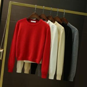 秋冬季新品女装长袖高腰红色毛衣套头加厚保暖2018短款针织打底衫