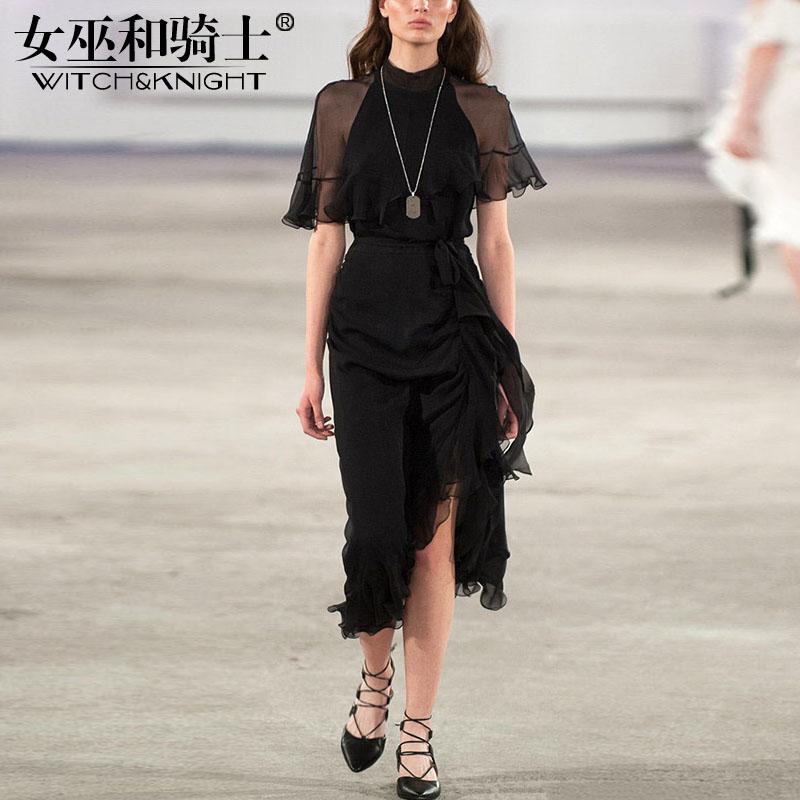 2018夏季新款欧美气质半高领短袖连衣裙荷叶边收腰气质不规则裙子